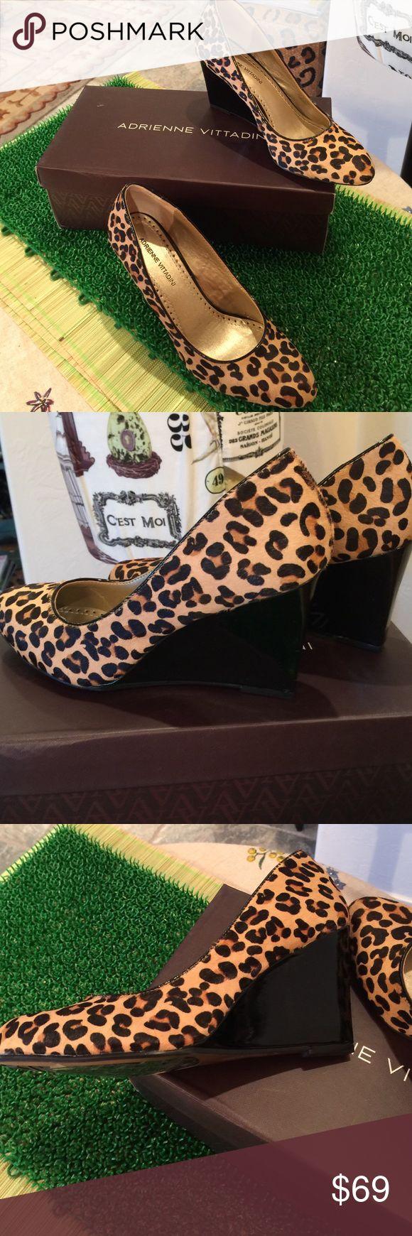 "Leopard Wedges Adrienne Vittadini NWT Adrienne Vittadini Calf Skin Leopard Wedges, Leather lined, 3"" Wedges Adrienne Vittadini Shoes Platforms"