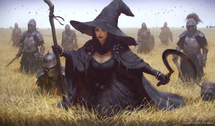 f Witch Sorcerer Staff Sickle 8 Undead Warriors farmland story WITCH, KILART _ on ArtStation at https://www.artstation.com/artwork/4Brgl