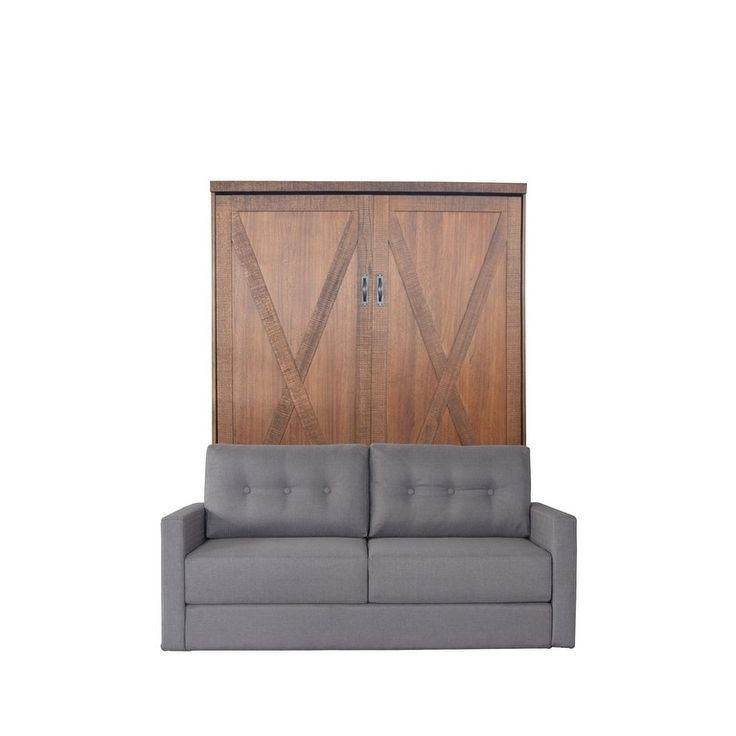 RoomAndLoft Queen Factory Sofa-Murphy Bed in Reclaimed Brown Finish and Heather Tweed Fabric