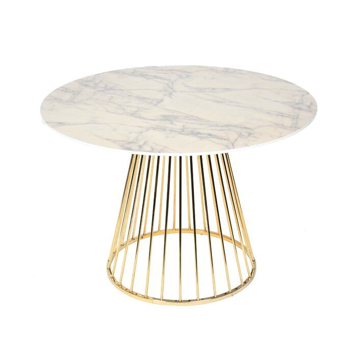 Modern Clear Round Glass Top Gold Stainless Steel Base Dining