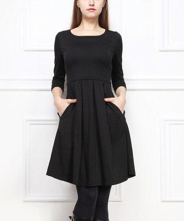 Look what I found on #zulily! Black Pleated Three-Quarter Sleeve Dress #zulilyfinds