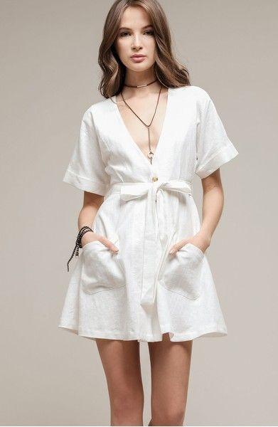 908aff8f5ba Main Image - MOON RIVER Linen   Cotton Button Front Dress
