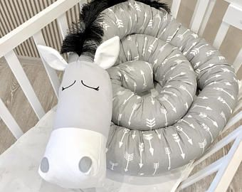 Baby crib bumper GREY HORSE  Pillow Handmade, Bolster Pillow, Baby Bed Bumper, Baby Shower Present