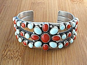 American Indian Sterling Silver Dry Creek Turquoise Mediterranean Coral Cuff Bracelet Signed N (Curley)