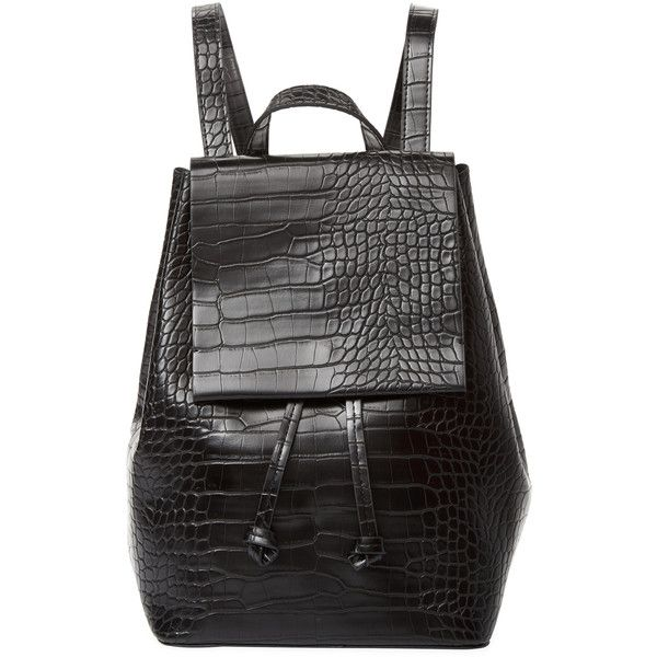 French Connection Women's Alana Backpack - Black ($69) ❤ liked on Polyvore featuring bags, backpacks, black, draw string backpack, drawstring backpack bag, french connection backpack, flap backpacks and day pack backpack