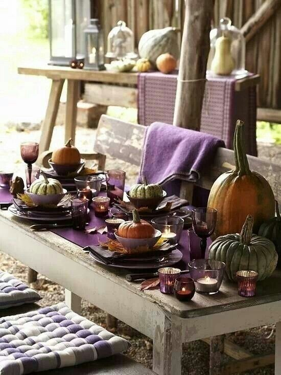 purple fall thanksgiving tablescape place setting thanksgiving dinner