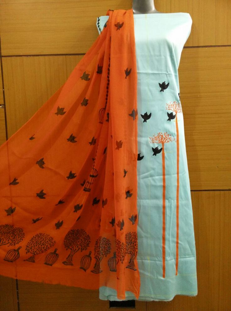 Light Blue And Orange Colored Block Printed Crepe Suit With Tabby Silk Dupatta