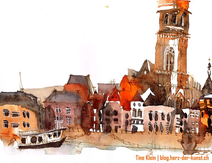 Deventer riverside:  Tine Klein is an artist which is creating a unique, colorful sketchbook style. Her drawings are an unusual mixture of painting and drawing with a delicate beauty. Tine Klein is an art teacher and can be hired for workshops in Germany and Switzerland. www.herz-der-kunst.ch