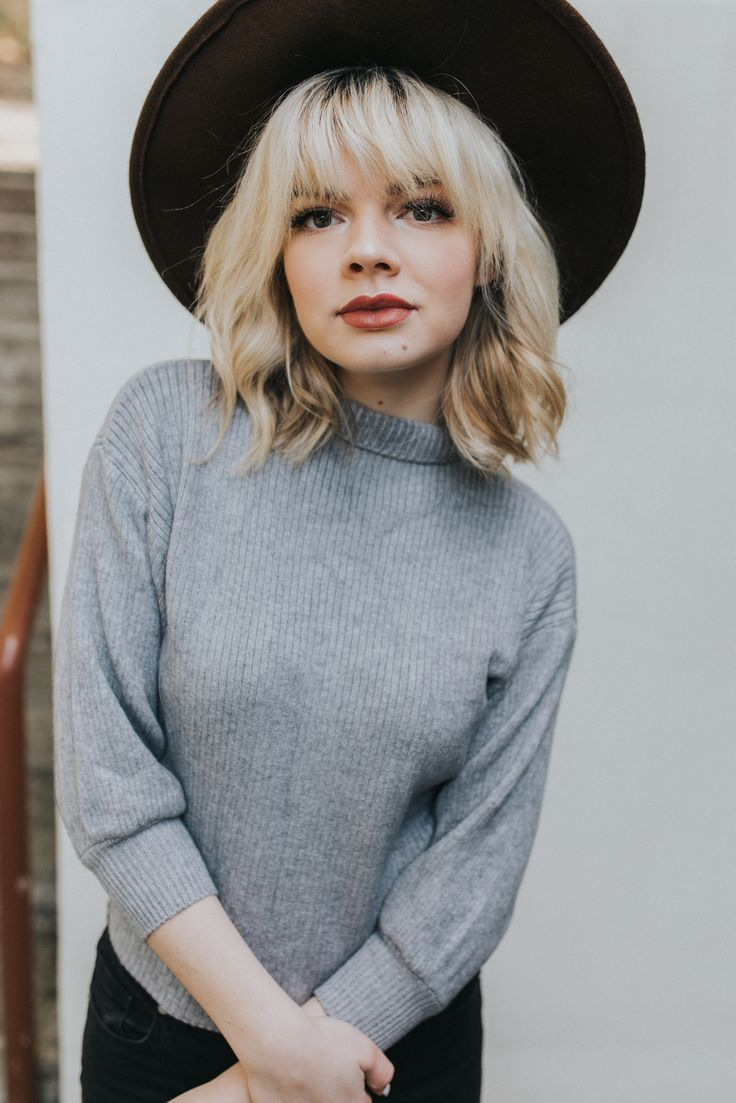 jessica whitaker seattle photographer grey sweater blonde bangs short hair