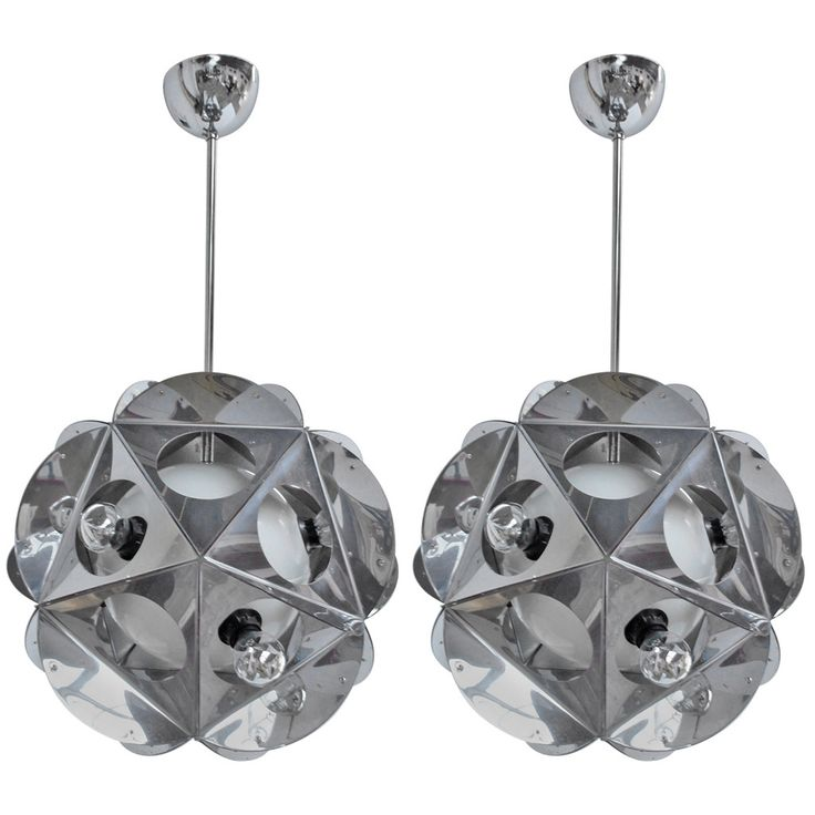 Stunning Pair of 'Acona Biconbi' Sculptural Chandeliers by Bruno Munari, 1970   From a unique collection of antique and modern chandeliers and pendants  at https://www.1stdibs.com/furniture/lighting/chandeliers-pendant-lights/