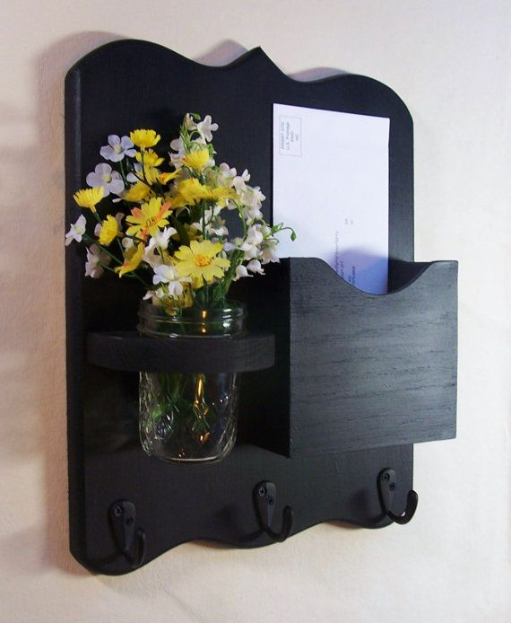 Mail Organizer - Mail and Key Holder - Letter Holder - Key Hooks - Jar Vase - Organizer cool idea!