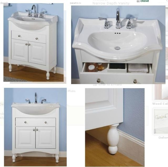 Best 25 small bathroom vanities ideas on pinterest for Bathroom cabinets narrow depth