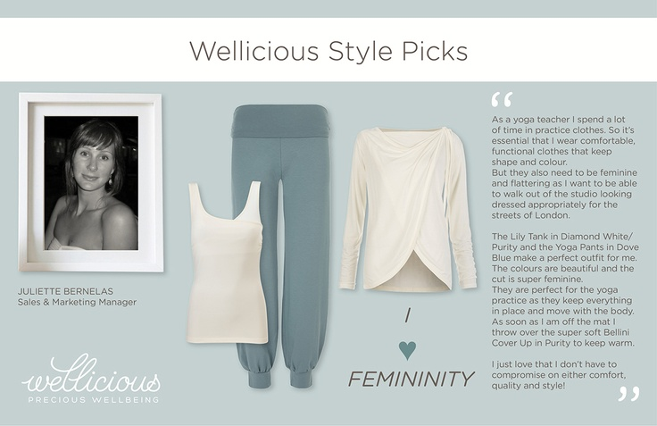 Wellicious Sales & Marketing Manager and Yoga teacher Juliette loves feminine Yoga clothing. Juliette is a yoga teacher as well Shankari Yoga London.