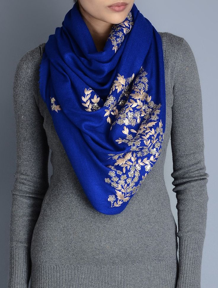 Buy Blue Gota Patti Cashmere Wool Stole Accessories Scarves & Stoles Glimmering Wraps Hand Embellished Online at Jaypore.com