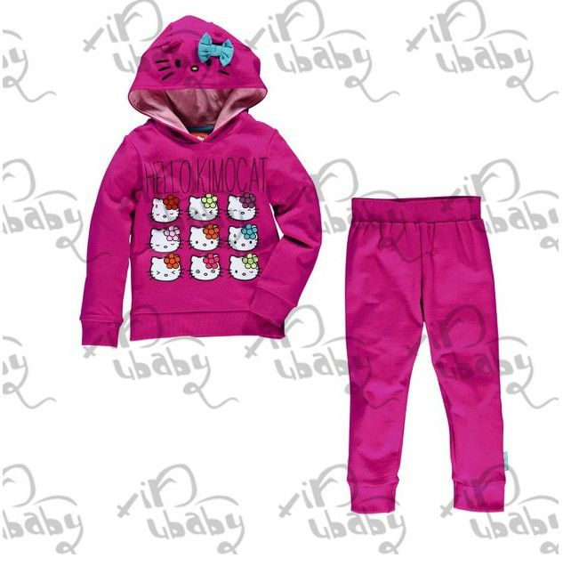 2013 spring/autumn New Children Girl's  Sets hello kitty dress baby Clothing sets hoodies +pants girls clothes set $53.48