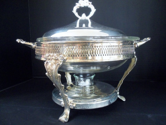 Chafing Dish with Pyrex Casserole Dish by TheVintagePorch on Etsy, $69.00