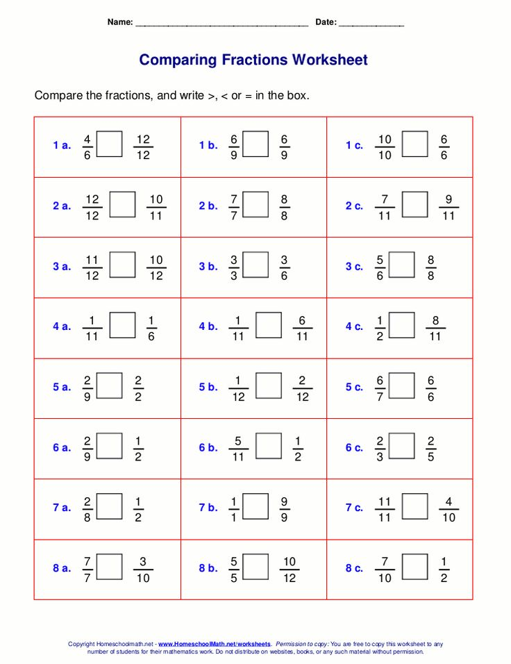 Free Fraction Worksheet Generator Great For Comparing