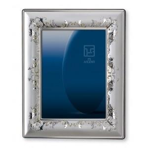 Cornice portafoto floreale in argento