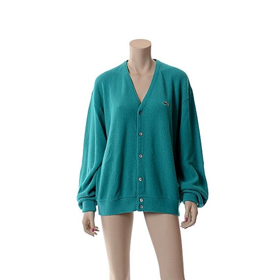 Vintage 1970s Izod Lacoste Turquoise Cardigan by CkshopperVintage