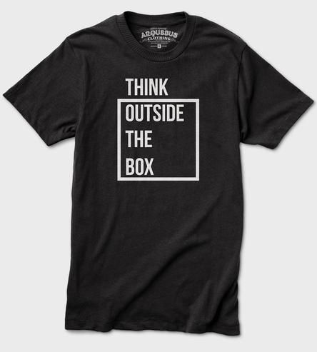 Think Outside The Box T-Shirt ➽ http://scoutmob.com/p/Think-Outside-The-Box-Tee?m=HardPin&cid=1885&hscpid=1402201&ref=cat_mens_t-shirts&sort=popular&signup=0&via=HardPin&u=type337&source=Pinterest&medium=HardPin&campaign=type337&utm_source=Pinterest&utm_medium=HardPin&utm_campaign=type337&utm_content=1885