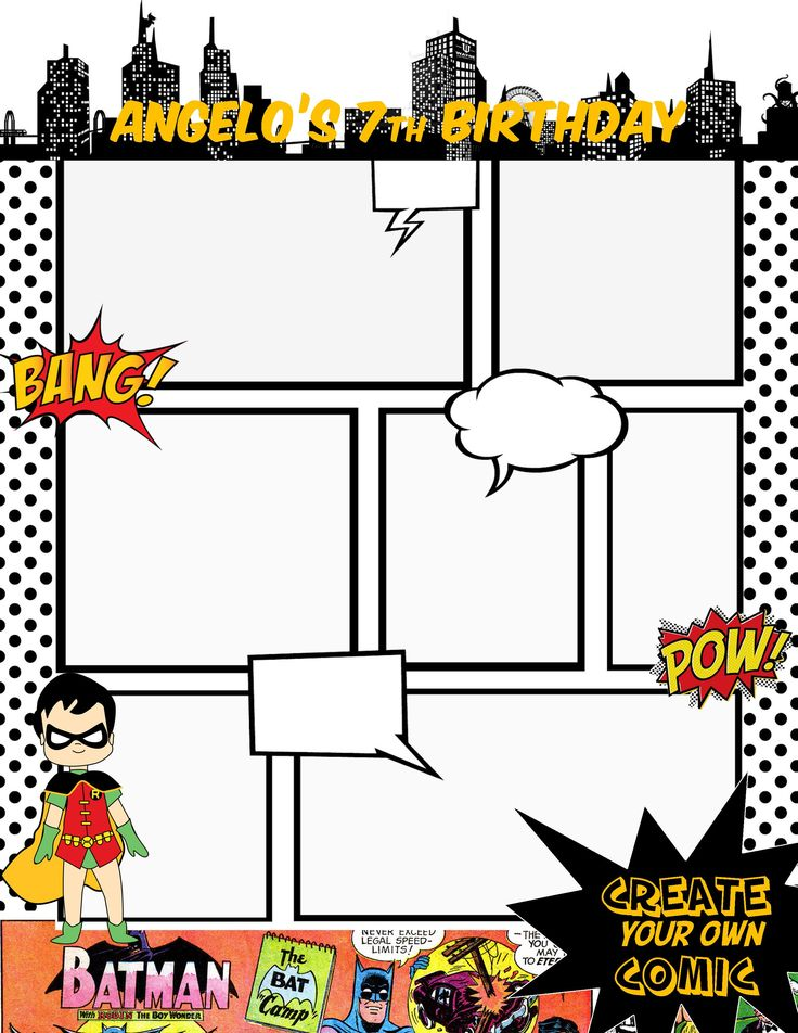 Batman comic book. We decided to make Comic Book pages for kids to draw or adults at the tables.. gives them something to do if they are bored.. Maybe I will have a place for them to display them after they are done.
