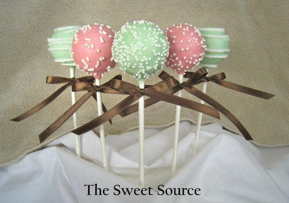 Mmm cake pops in my wedding colors...coral and mint green!      Carole: I love these! :)