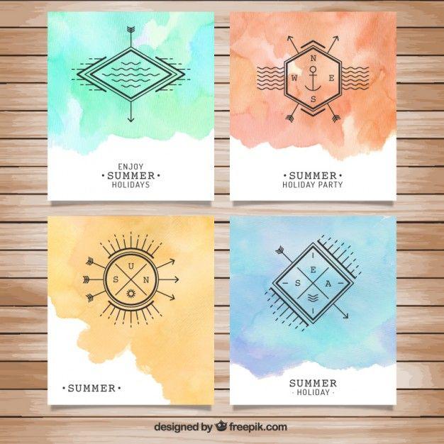 Hollidays Aquarelle d'été brochures Vecteur gratuit