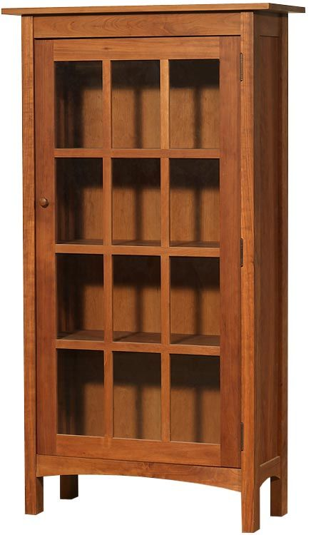 Modern Shaker Glass Door Bookcase in natural cherry wood with a straight edge profile. Handcrafted in Vermont with natural eco-friendly non-toxic oil finish that not only protects, but enhances the natural beauty of the wood.