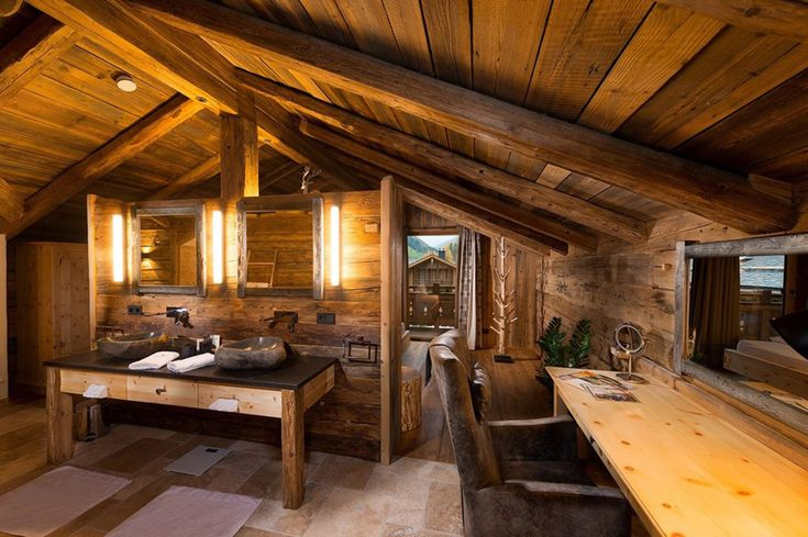Chaletdorf Auszeit Bathroom #chalet #interiordesign #rustic #woodinterior