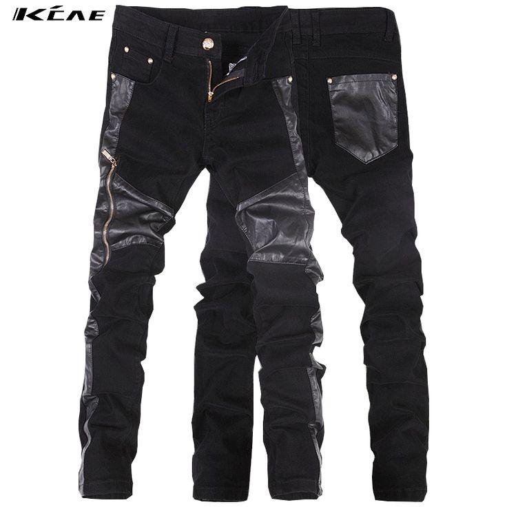 Mens Faux Leather Pants Plus Size 28-36 2016 Fashion Black Tight Leather Pants For Men Skinny Pants