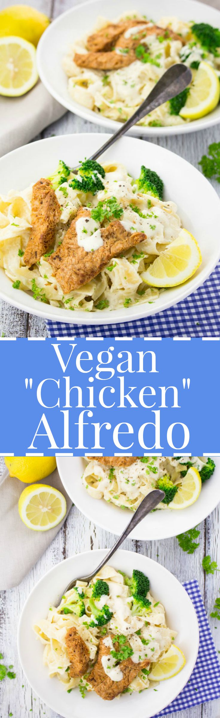 This vegan chicken Alfredo with textured vegetable protein (TVP) is so delicious, creamy, rich, and decadent. No dairy or meat needed!