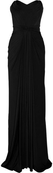 Zac Posen Stretchjersey Strapless Gown in Black