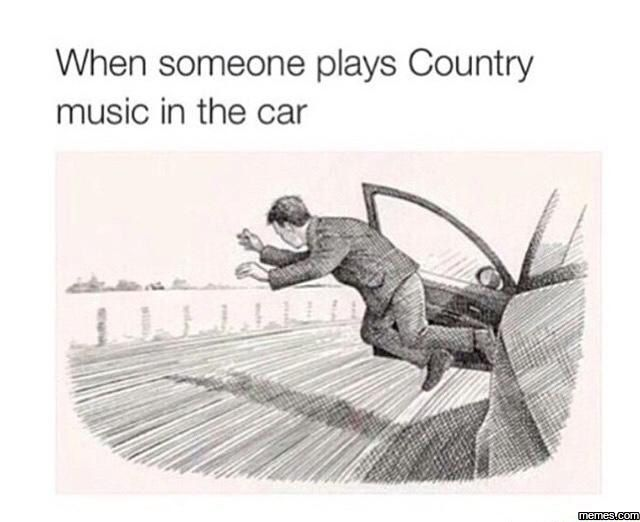When someone plays country music in my car