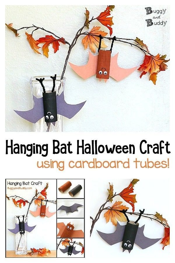 Halloween Craft for Kids: Hängendes Fledermauspro…