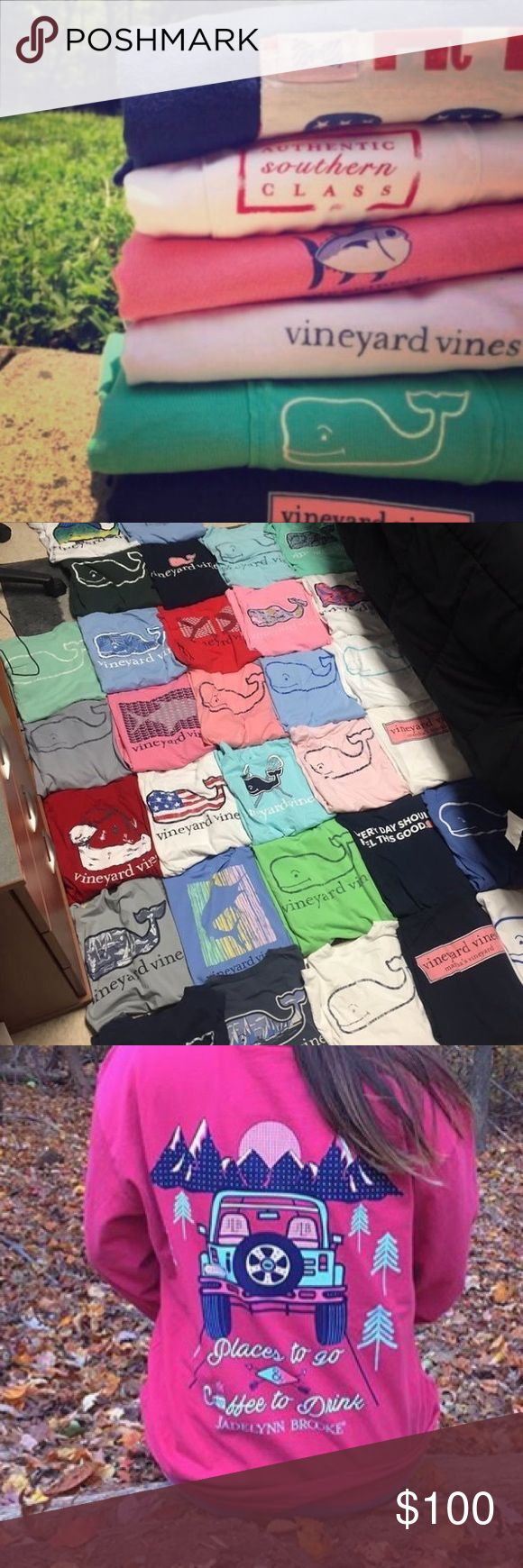 ISO southern/ preppy t shirts and long sleeves Looking for brands like vineyard vines, southern shirt company, simply souther, jadelynn brooke, etc. Vineyard Vines Tops Tees - Short Sleeve