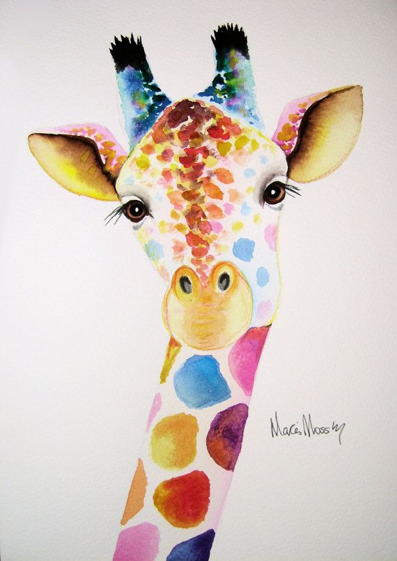 "An ORIGINAL  watercolour GIRAFFE  painting by artist Maria Moss. A4 size painting 12"" x 8.5"""