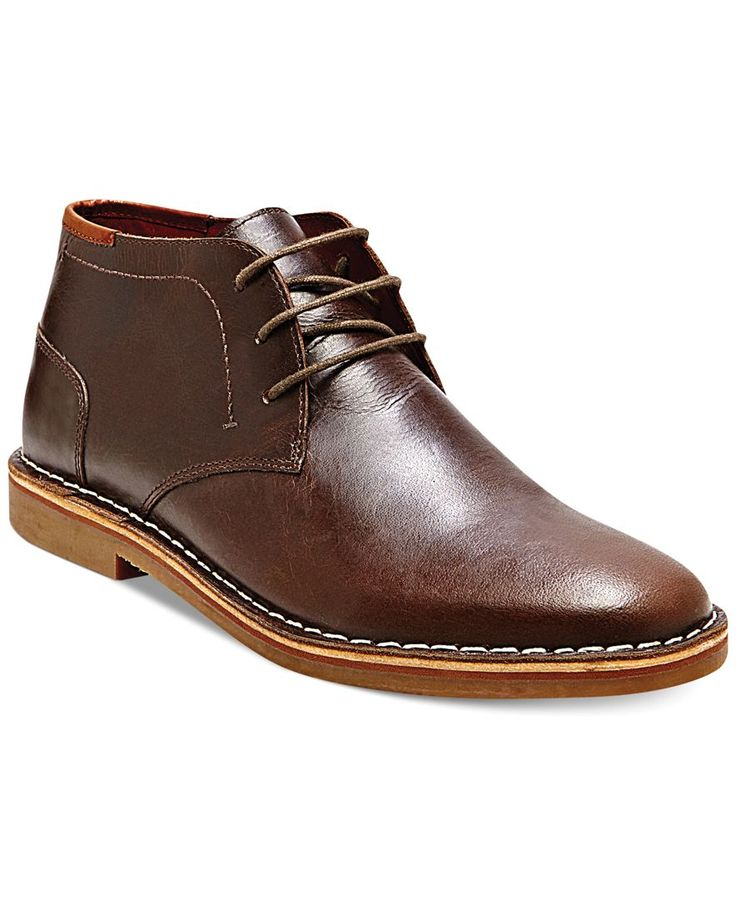 Polish your off-duty wardrobe with a pair of sleek leather chukka boots from Steve Madden. | Leather upper; man-made sole | Imported | Steve Madden men's chukka boots | Lace-up closure with blind eyel