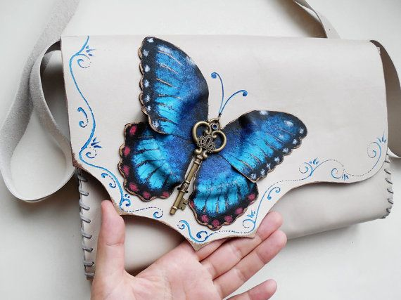 Morpho Butterfly bag Blue Butterfly bag Painted by spiculdegrau