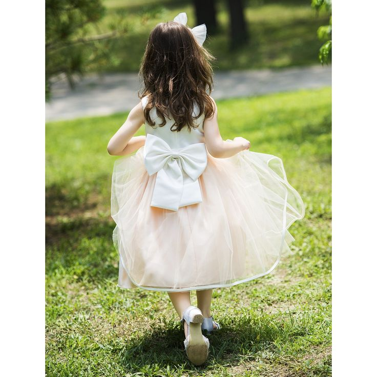 Ball Gown Halter Knee-length Satin Chiffon Flower Girl Dress With Bows
