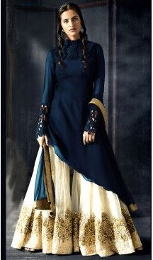 Blue Color Georgette Fabric A Line Style Palazzo Pants Stitched Suit with Dupatta | FH450670726