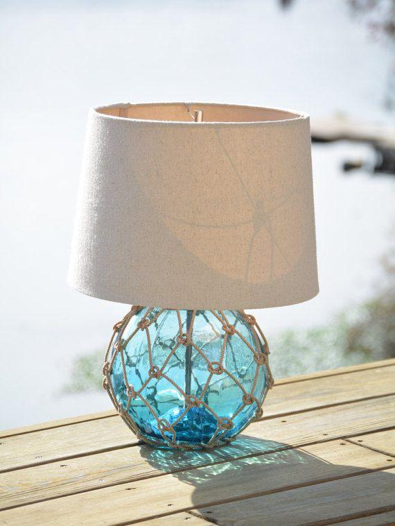 Light Aqua Blue Glass Fishing Float, Aqua Blue Lamp Shades