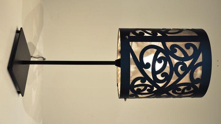 Blue Kowhaiwhai Lamp  pierced aluminium