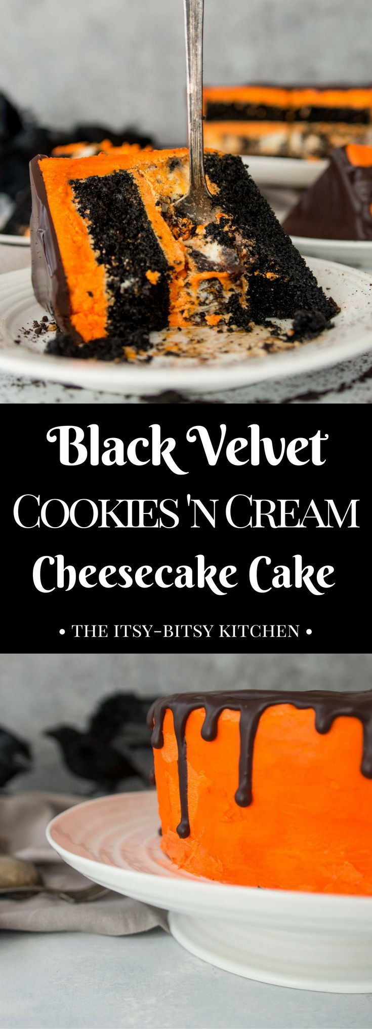 Recipe for black velvet cookies 'n cream cheesecake cake--full of chocolate and Halloween spirit! Perfect #Halloween party food! #chocolate #cheesecake