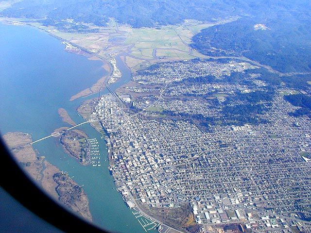 Eureka from the air. Top is North. Woodley island ...