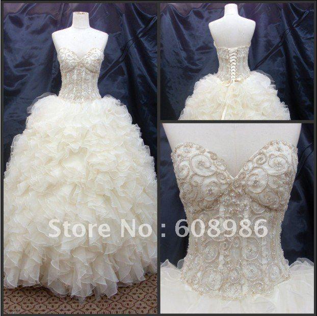 DESIREE.   Y0677 Hot Sweetheart Beaded Princess Organza Ball Gown Wedding Dresses $207.90
