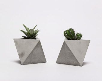 frauklarer hexahedron concrete planter with color by frauklarer