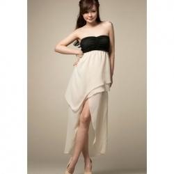 Ladylike Asymmetrical Layered Hem Strapless Chiffon Dress