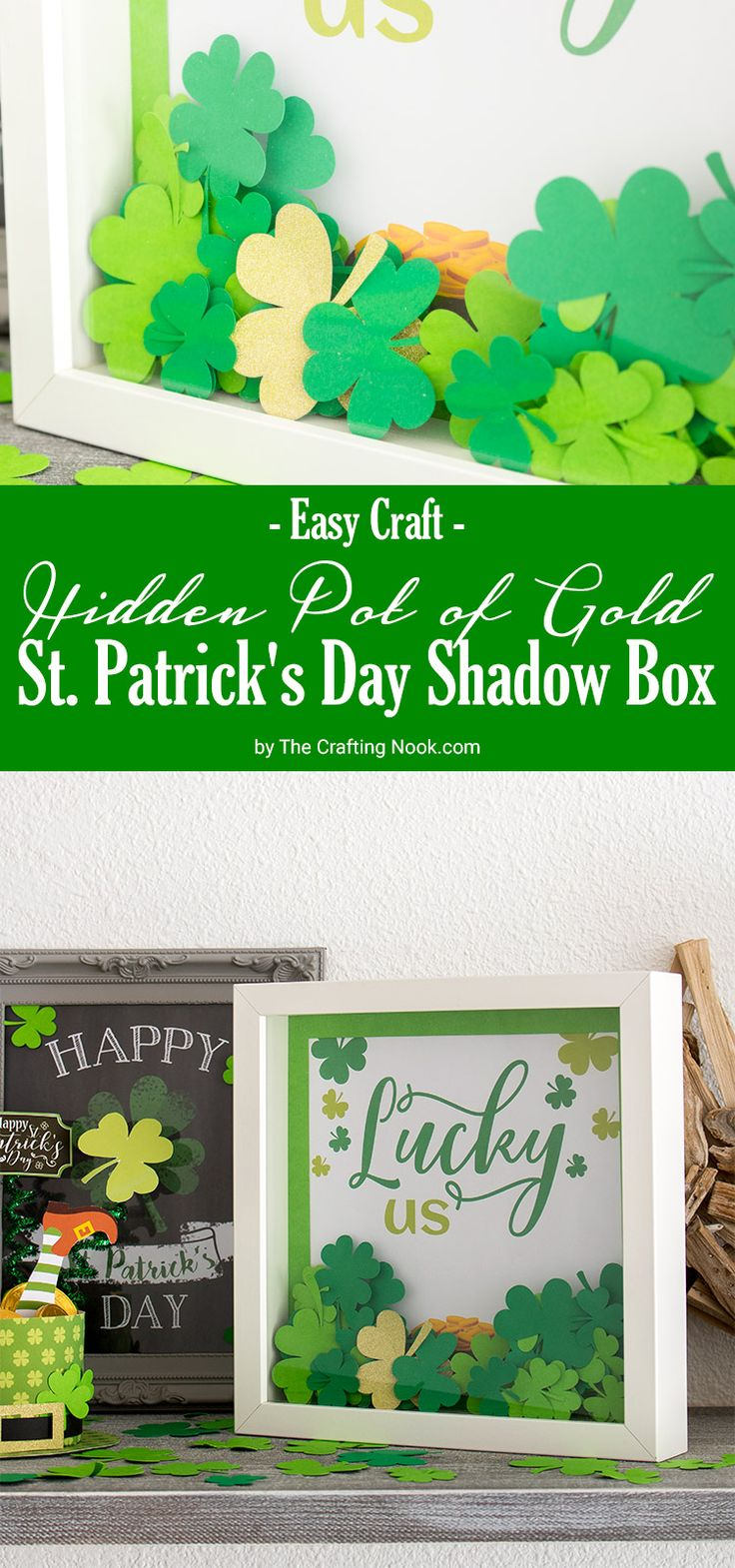 Learn how to make this super fun and easy Hidden Pot of Gold St. Patrick's Day Shadow Box.