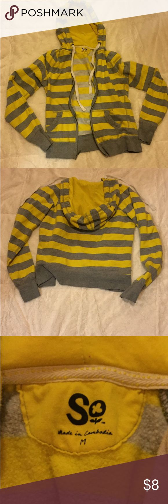 Gray and yellow striped zip up hoodie Zip up hoodie, soft material, gray and yellow, good condition. SO Shirts & Tops Sweatshirts & Hoodies