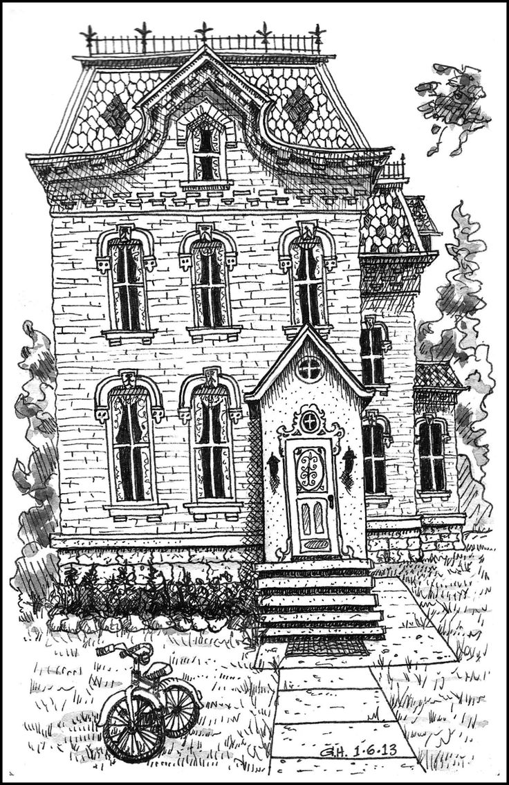 Victorian house adult colouring Adult Colouring